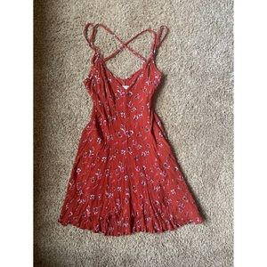 American Eagle Cross Back Red Floral Flowy Dress